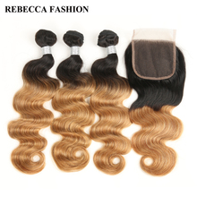 Rebecca Remy Brazilian Ombre Light Brown Human Hair Bundles With Closure Body Wave 3 Bundles Hair Weave 1 Pc 4×4 Lace Closure