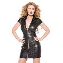 Nuevo vestido de vinilo sexi mujer alta calidad verano talla grande 3XL con cremallera frontal erótica manga corta Bodycon Mini negro