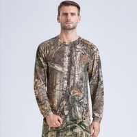 Man Hiking Tshirt Quick Dry Breathable Long Sleeve Shirt 3d Printed Jungle Mens Camouflage Hunting Stretch