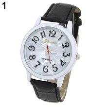Hot Sales Popular Business Designed Men's Geneva Shell Dial Round Faux Leather Platinum Wrist Watch NO181 5V6U AJVO