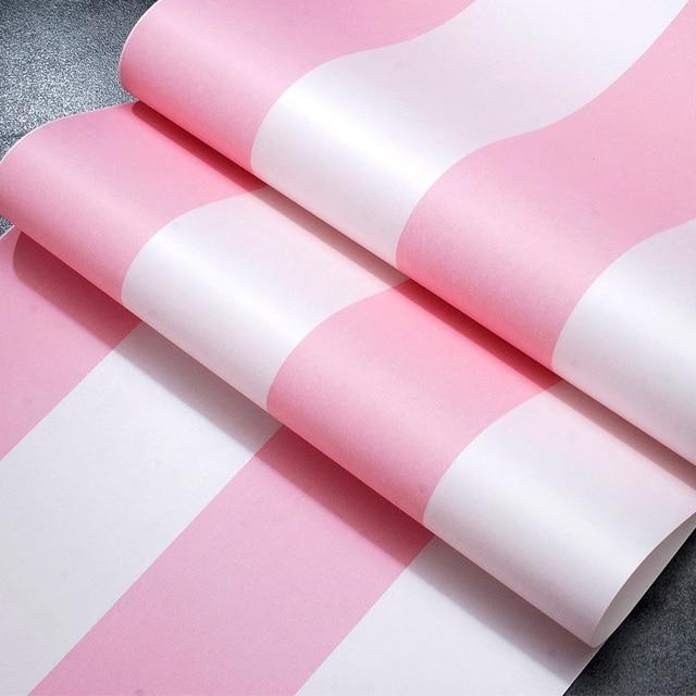 Coreenne Style Papier Peint A Rayures Rose Princesse Enfants Chambre