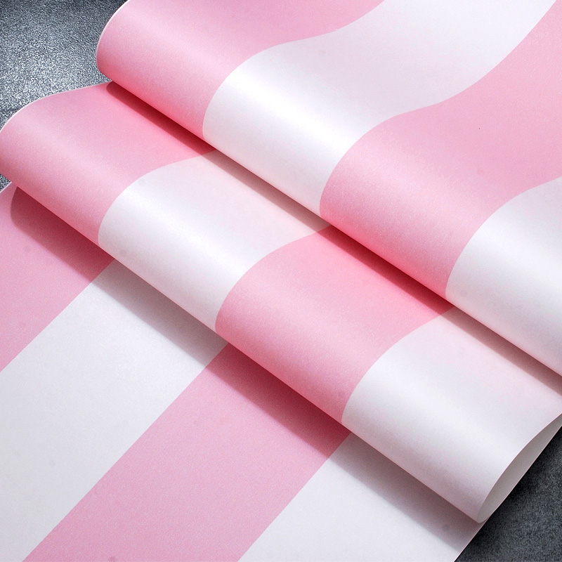 Korean Style Striped Wallpaper Pink Princess Children Room Wall Decoration Kids Room Girls Bedroom Non-woven Wallpaper Roll Size modern korean style rustic dandelion wallpaper for bedroom kids room walls non woven striped wall paper roll mural pink green