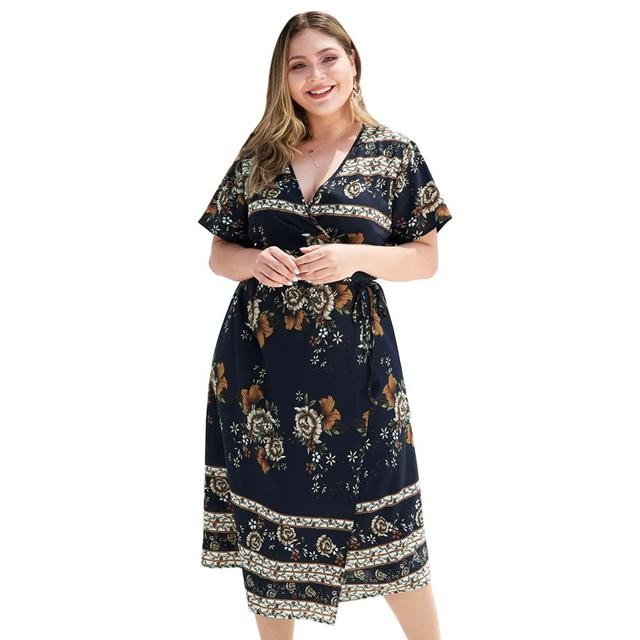 Cross V Collar High Waist Lace-up Short Sleeve Plus Size Navy Floral Print Dress