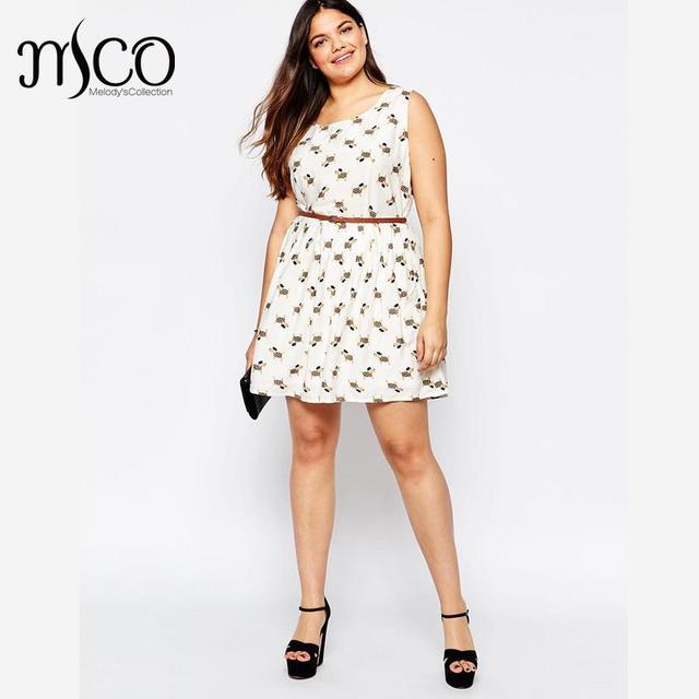 bea580b1c40d Brand Summer Sleeveless Women Dress Cute Sausage Dog Print Chiffon Skater  Dresses Plus Size 5XL 6XL