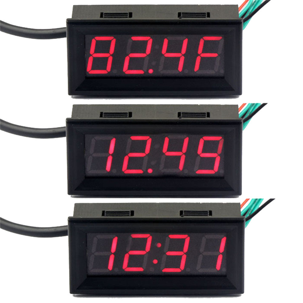 Led Auto Gauges : Fahrenheit scale dc v digital car clock thermometer