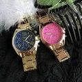 Женщины из нержавеющей стали полосы цветной лицо ссылка часы, Новая классика двухцветный браслет часы женева часы