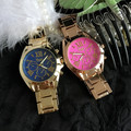 Women Stainless Steel Band Colored Face Link Watch,New Classic Two Tone Bracelet Watch Geneva Watch