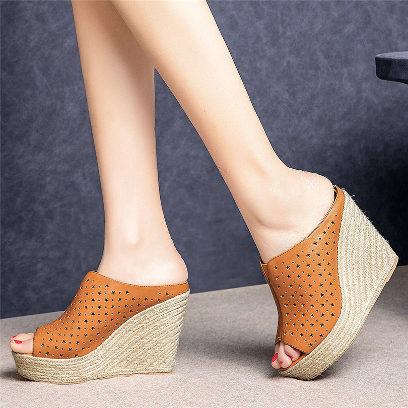 NAYIDUYUN    Punk Slippers Women Cow Leather Wedges Platform Roman Gladiator Sandals Open Toe Party High Heel Pumps Casual Shoes