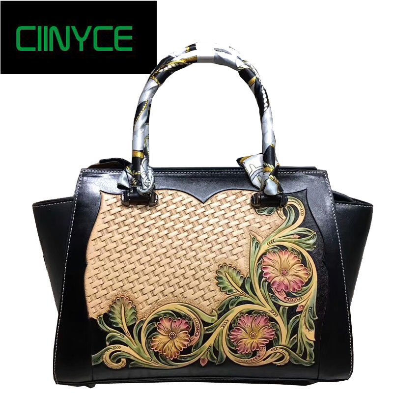 Women Shoulder Bags Handmade Genuine Leather Handbags Flowers Hand Painted Las Cowhide Messenger Chinese Style In Top Handle From Luggage
