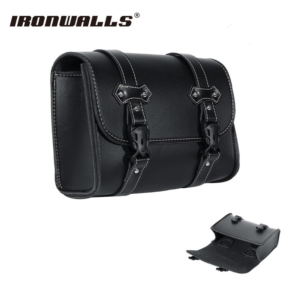 Ironwalls черный PU кожаные мотоциклетные седельная сумка спереди хвост  баррель Паньер инструмент Чемодан чехол Сумки для Harley Davidson Sportster 17db843a392