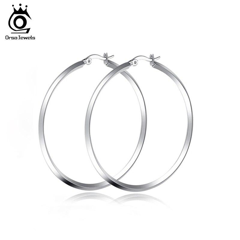Schmuck & Zubehör Sinnvoll Orsa Juwelen Mode Hohe Qualität Edelstahl Hoop Ohrring Neue Polieren Einfache Kreis Frauen Silber Farbe Ohrringe Ote23