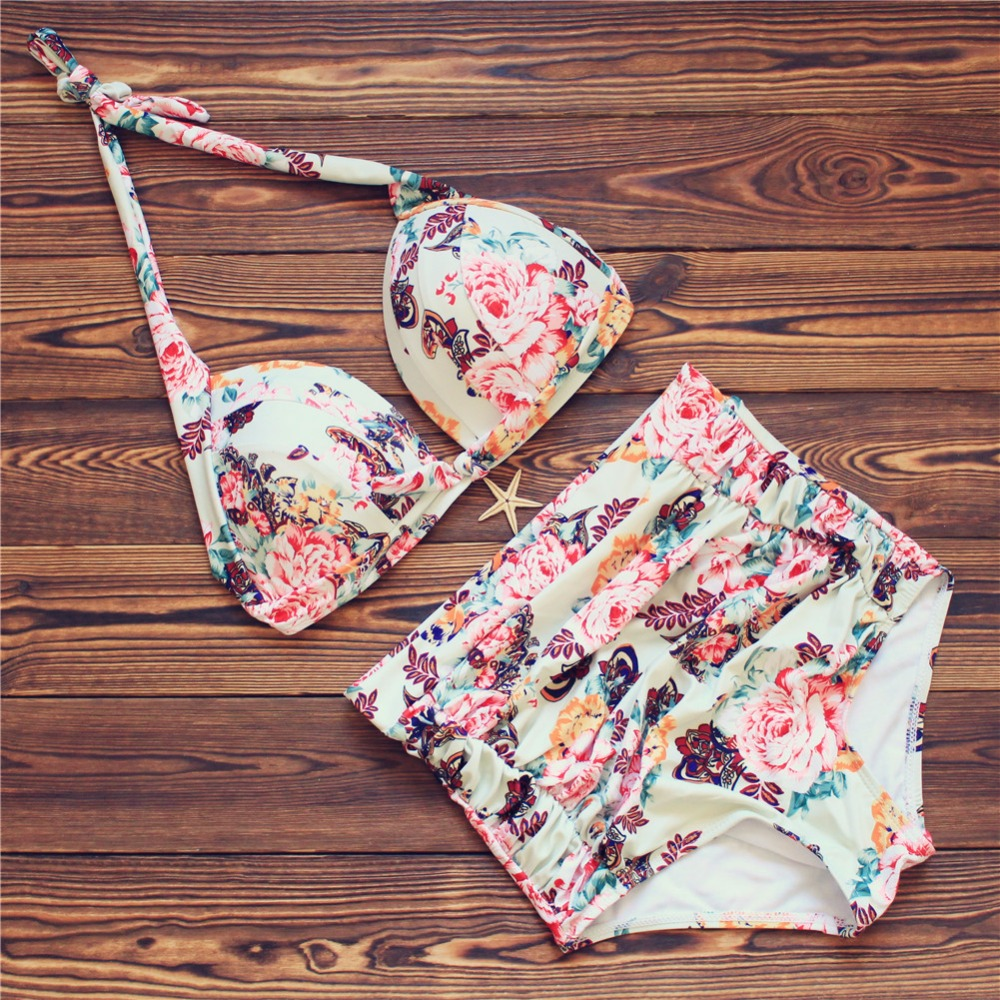 2017 Plus Size Bikini Set Push Up Sexy Bandage Swimwear Women Swimsuit High Waist Bathing Suits Floral Printed Beach Suit S-3XL one piece swimsuit cheap sexy bathing suits may beach girls plus size swimwear 2017 new korean shiny lace halter badpakken