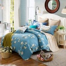Королева размер Полный Близнец синий пододеяльник набор Свежий стиль цветы печати 100% Хлопка Постельных Принадлежностей пододеяльник простыня наволочка