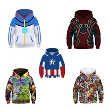 Children Halloween Anime Spiderman Captain America Cosplay Costume Boy Girl Cartoon Long Sleeve Jacket 3D Print Hoodie
