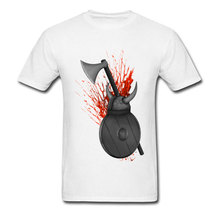 Viking Weapons Hatchet Bloody Tops Shirts Digital Print Camisa Short Sleeve Pure Cotton Male T Shirt Latest Design White