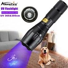Alonefire g700 led luz uv zoom lanterna 365 & 395nm tocha viagem segurança gato cão pet urina lâmpada de detecção uv aaa 18650 bateria