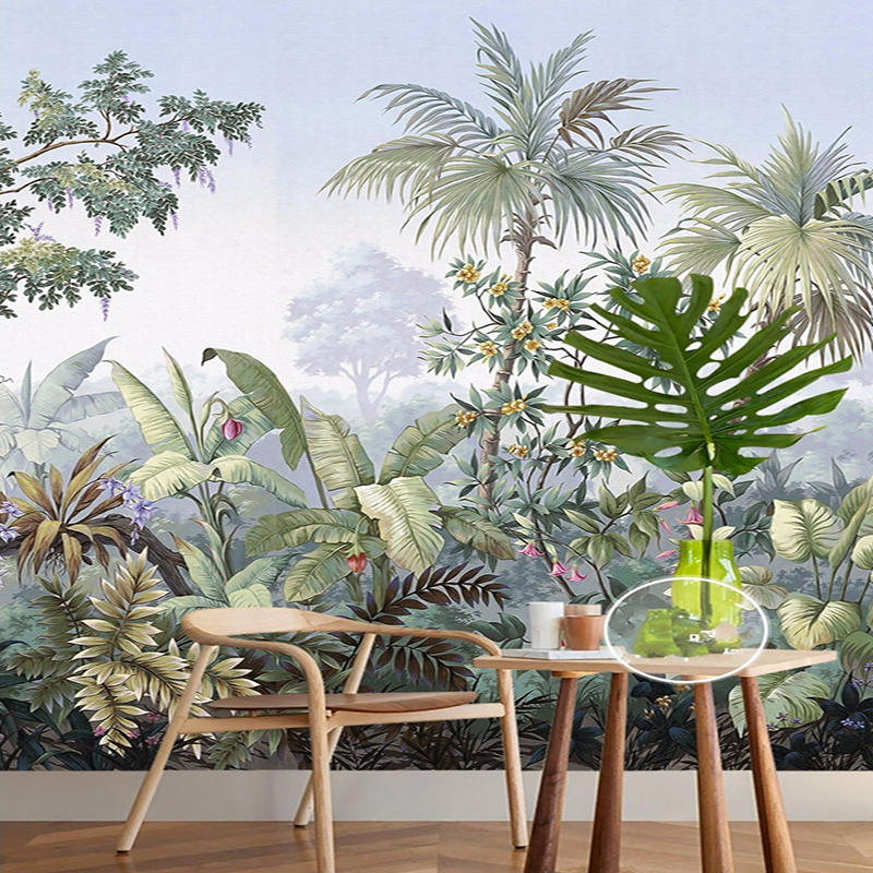Custom 3D Wallpaper European Style Hand Painted Rain Forest Banana Coconut Tree Mural Living Room Entrance Background Photo Wall