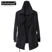 Men hooded mantle men's hoodies cloak sweatshirts male with big hood black mantle cotton