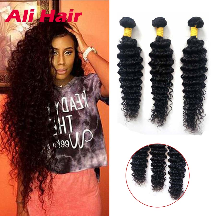 7f3efb3842f20c Malaysian Deep Wave Weave 4 Bundles Remy Hair Bundles Deals 16 Inch Jet  black  1B Malaysian Curly Virgin Hair 4 Thick Bundles on Aliexpress.com