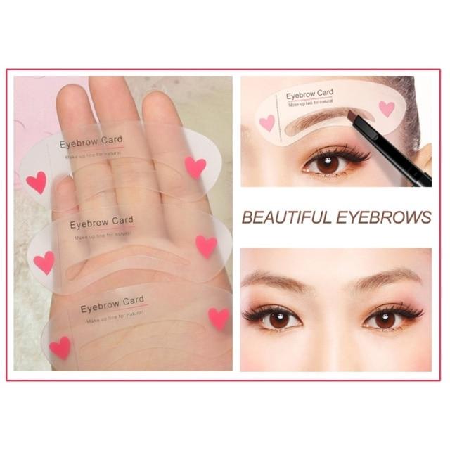 3Pcs/set Eyebrow Template Stencil Tool Makeup Eye Brow Template Shaper Make Up Tool Eye Brow Guide Template DIY Beauty 4