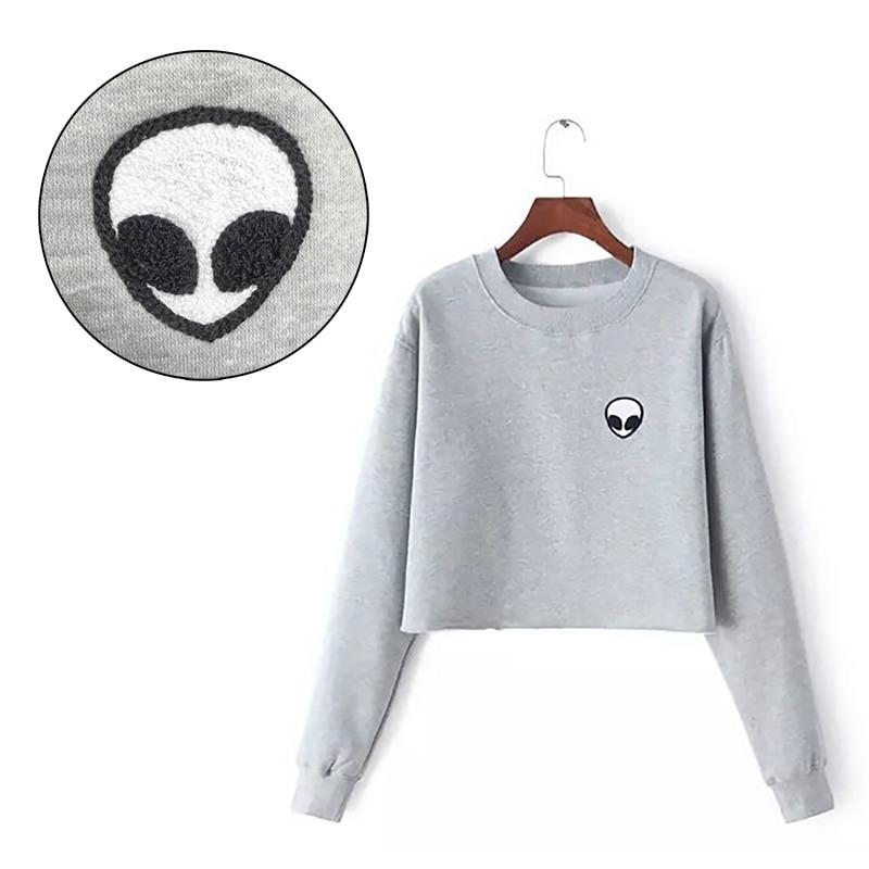ET Aliens Printing Warm Hoodies Sweatshirts Harajuku Crew Neck Sweats Women Clothing Feminina Loose Short Fleece Jumper Sweats