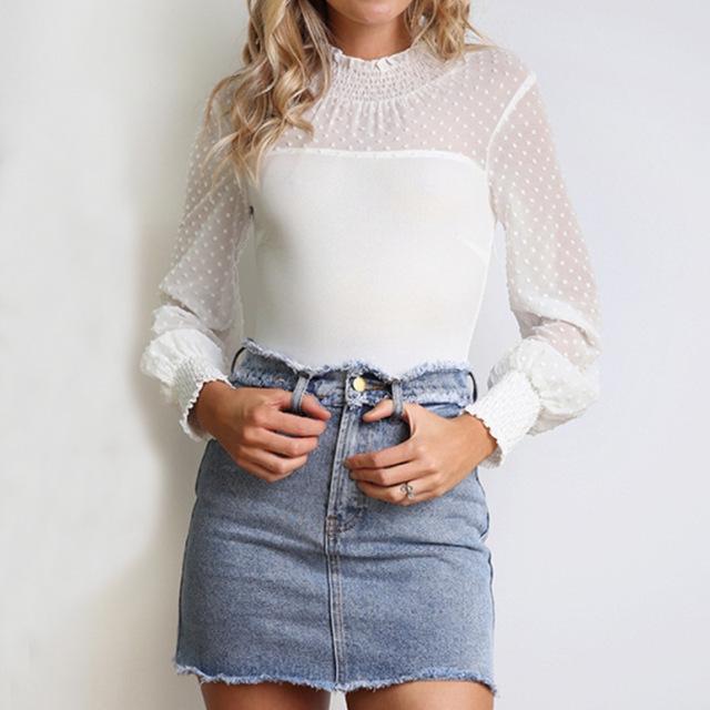 White Solid Slim Casual Bodysuit Female