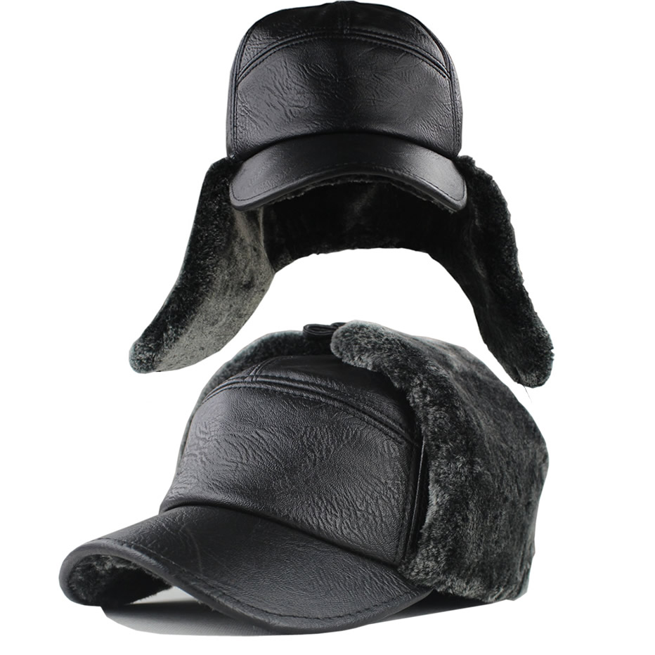 The elderly winter hats Men leather ear protect hat male autumn and winter  roll-up hem cap black fur bomber hats d529a41ff19