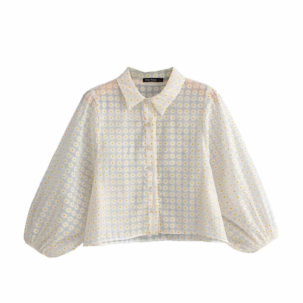 2019 yeni kadın moda küçük çiçek baskı rahat önlük bluz gömlek kadın seksi şeffaf gauzes chic femininas tops LS3830