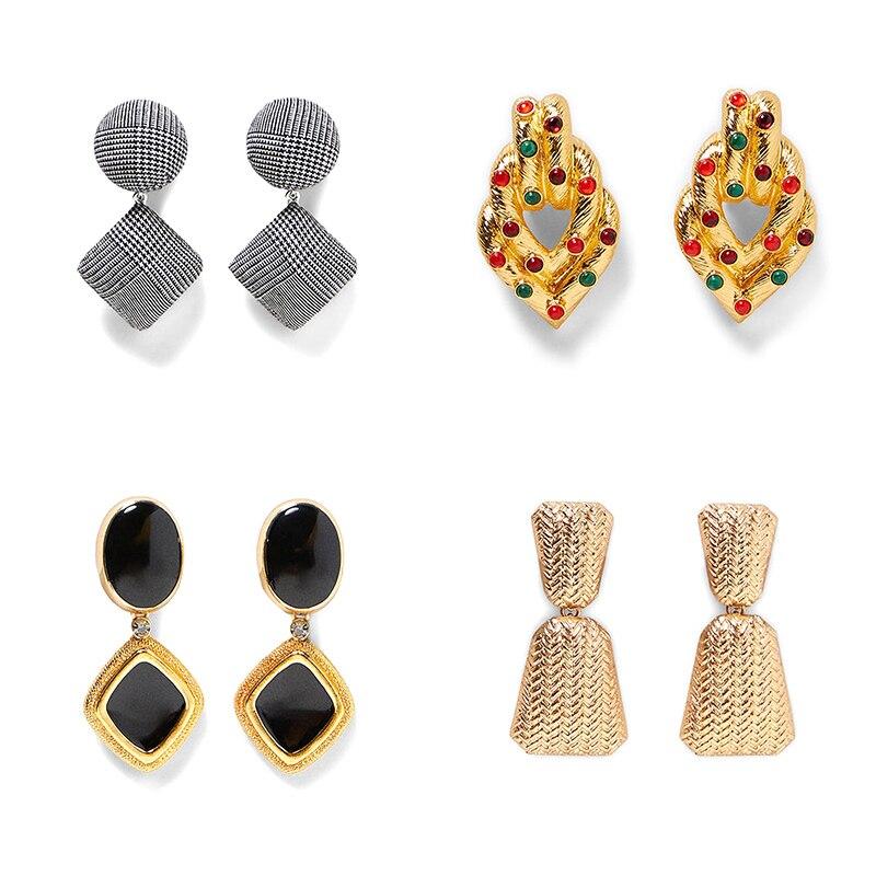 JUJIA Ethnic Za Crystal Metal Earring Vintage Drop Dangle Earrings For Women Statement Jewelry Accessories