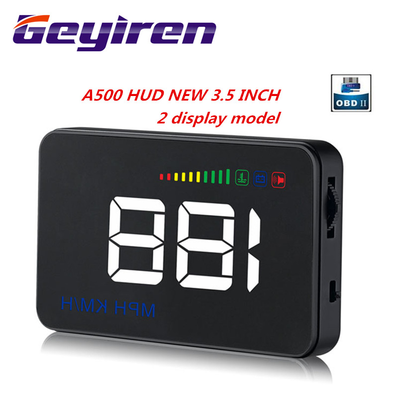 GEYIREN 2019 A500 HUD Display Car Overspeed Alarm Water Temperature Alarm OBDII Or EU OBD Interface Reflective Film Car Styling