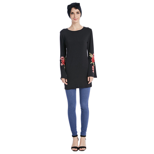 7cbe555534cf38 Women Elastic Appliques Flowers Embroidery Tops Muslim Manset Islamic  Clothes Long Flare Sleeve Stretch T-Shirts O Neck Blouses