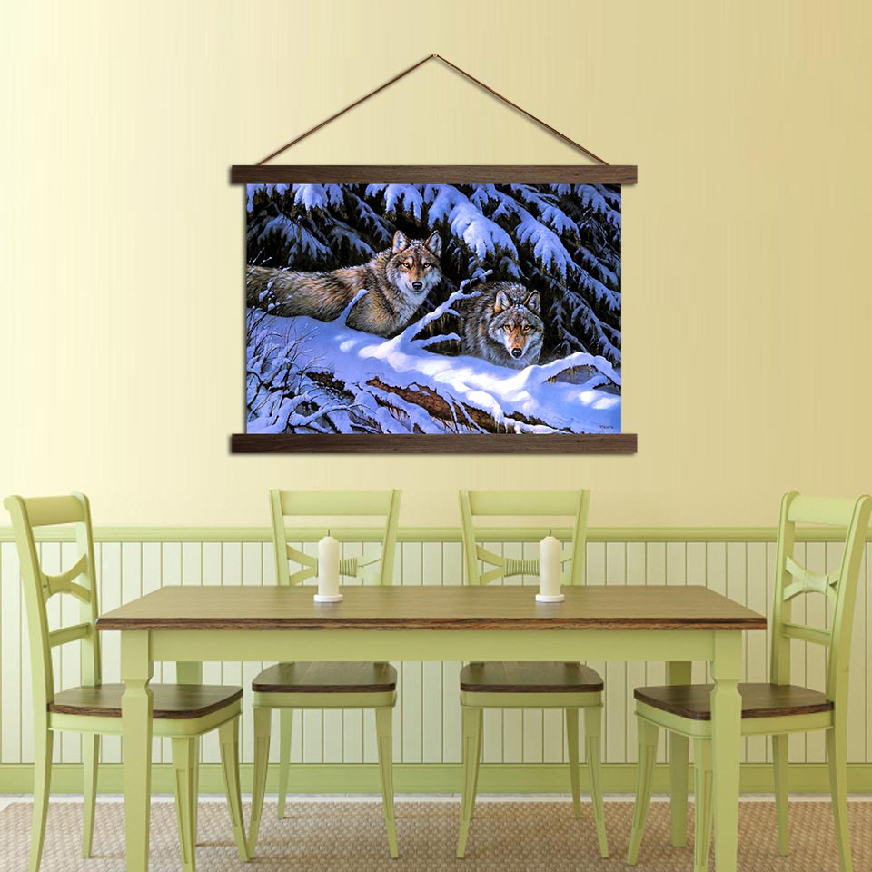 HD Prints Modern Forest Snowy Wolf Prey Poster Hanging Canvas Wall ...
