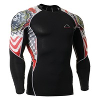 Men's Compression Running Shirts Prints Fitness Training Skin Tights GYM Long Sleeve Sports Skin Tight Tshirt
