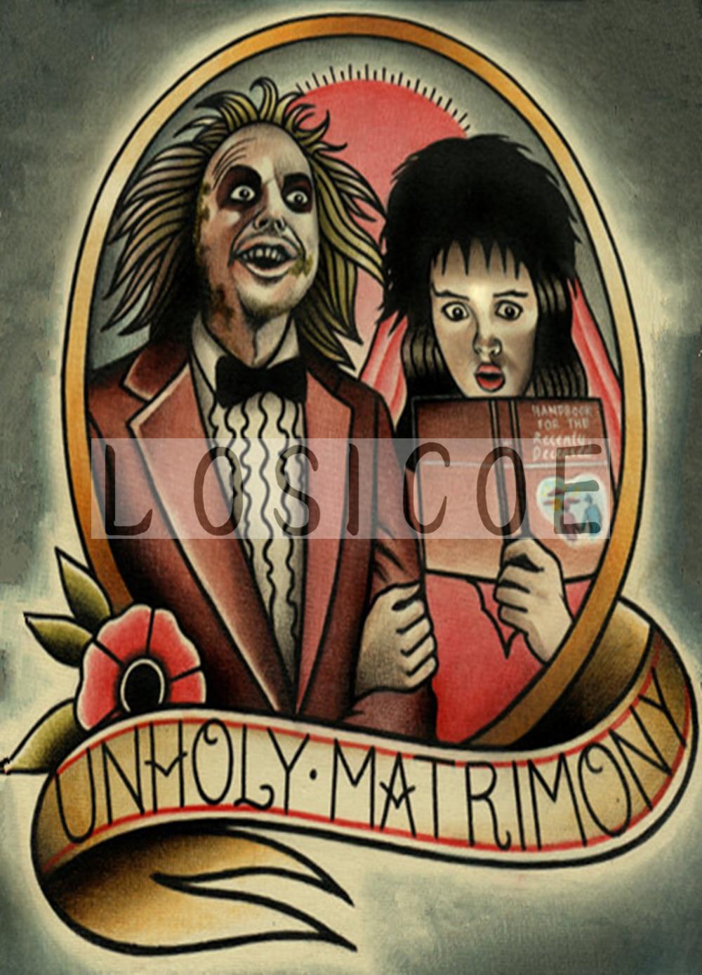 UNHOLY MATRIMONY vintage tattoos pattern kraft paper poster wall sticker art print painting barber shop decor 30X42 CM