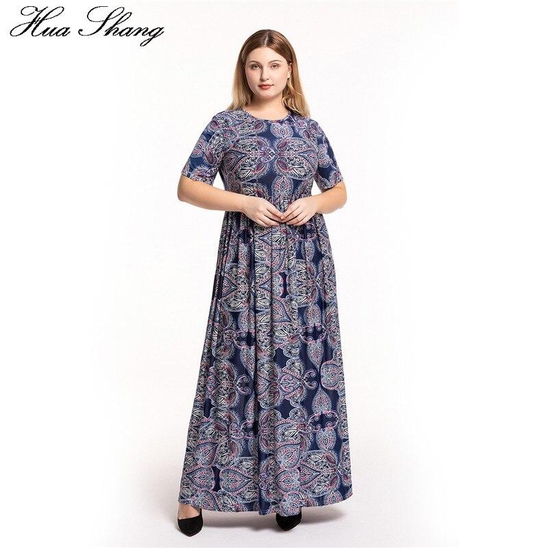 Plus Size Dress 6xl Women Summer Short Sleeve Retro Printing Vintage Bohemian Dress Pockets High Waist Tunic Maxi Long Dresses