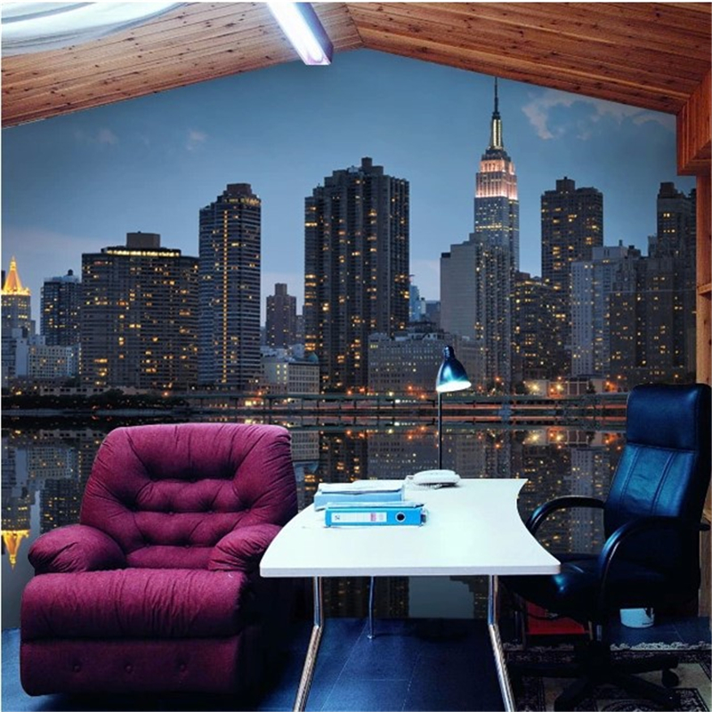 beibehang Manhattan 3d papel de paede Sofa living room TV background photo wallpaper Wallpaper City Dinner 3d mural wallpaper