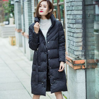 Women's long cotton jacket winter thick hooded