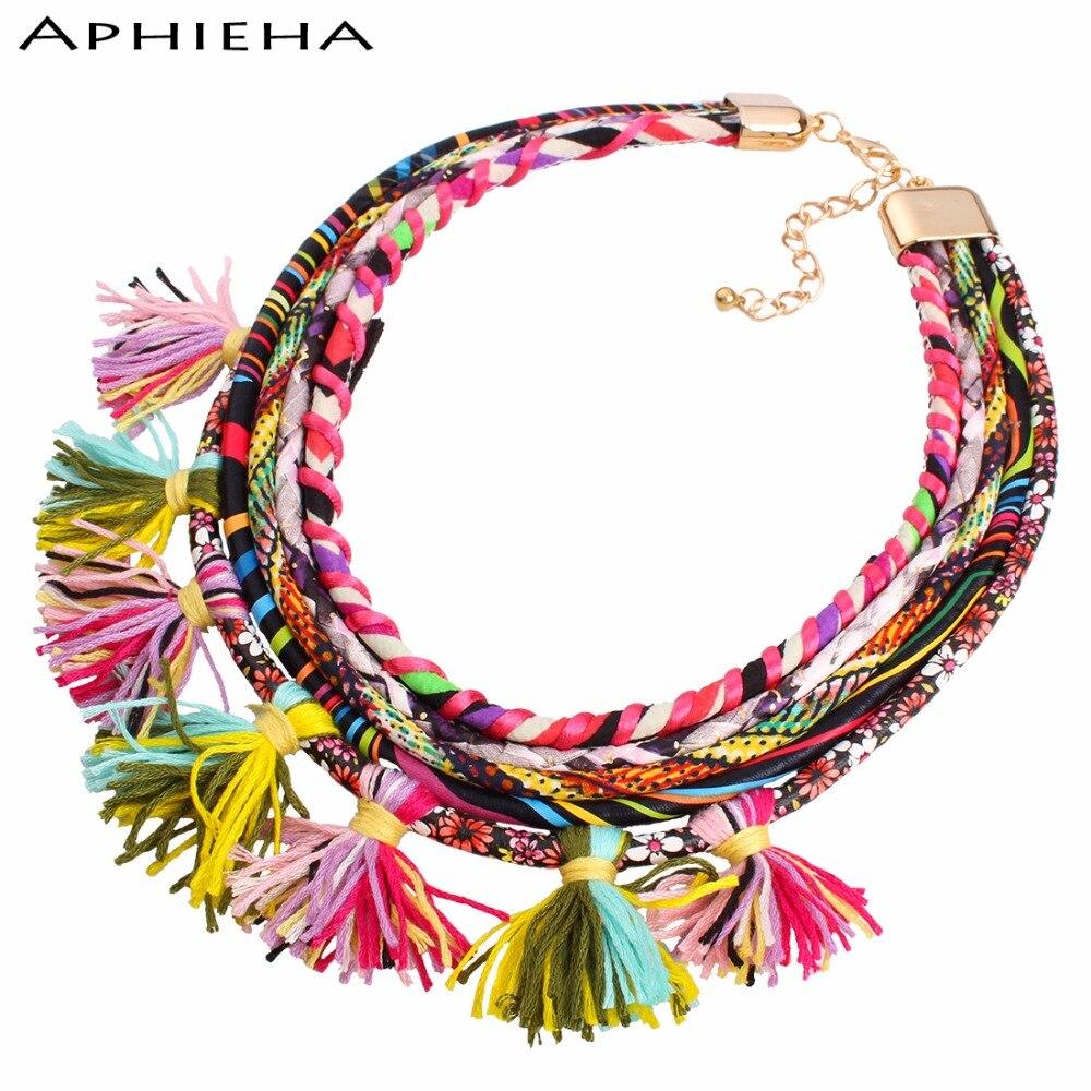 Aphieha Choker Necklace Ribbon Color Vintage Tassel Pendant Bohemian Big Punk Statement Power Maxi Necklace Women Jewelry
