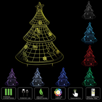3D LED Optical Illusion Christmas Tree Night Light Multi Colored USB Powered Touch Switch LED