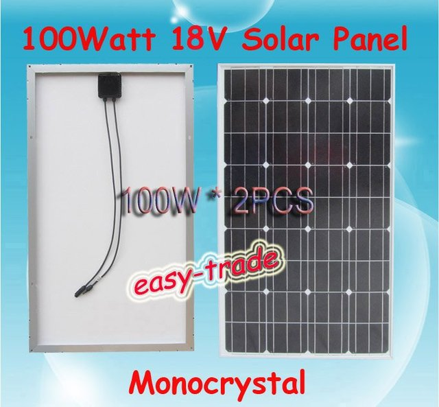 200w(2*100w) 18V Solar Panel Module Charger 12V Battery-low price, free shipping, high efficiency, 2pieces/a lot