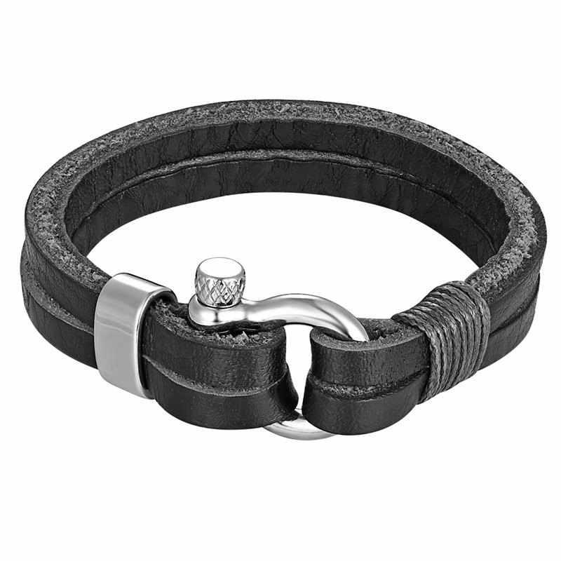 Heren Rvs Anker Shackles Zwart/Bruin Lederen Armband & Bangles Surf Nautische Sailor Mannen Polsband Mode-sieraden