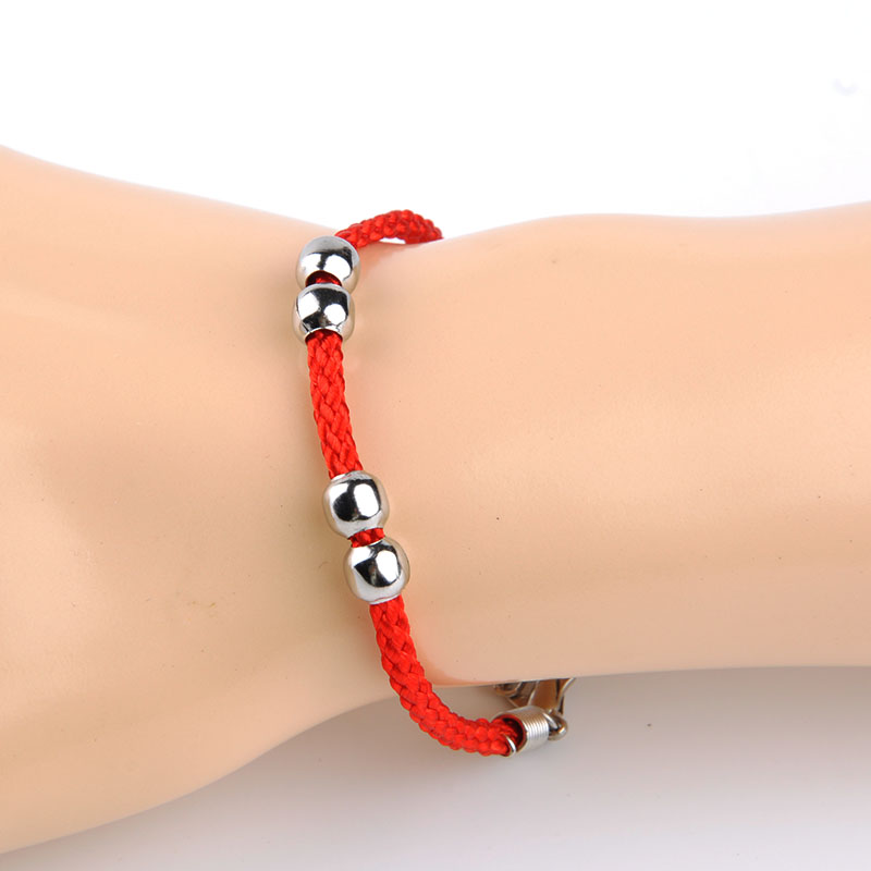 Fashion black red string lucky charm bracelet hand chain four beads women men jewelry lovers Home decoration with bangles