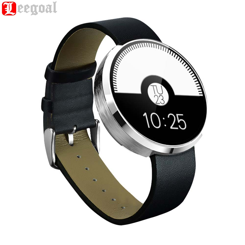 Smartwatch Bluetooth Smart Watch DM360 Heart Rate Monitor Leather Band Wristwatch Fitness Tracker for iPhone iOS Android Phone