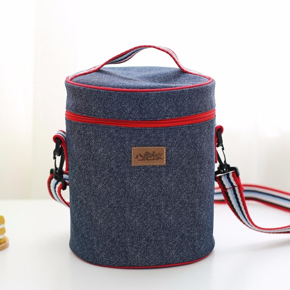 Denim Sacchetto del Pranzo Del Capretto Bento Box Isolato sacchetto di Picnic Pacchetto di Bere Cibo Termica dispositivo di Raffreddamento del Ghiaccio Roba Accessori Forniture di Prodotti Per Il Tempo Libero