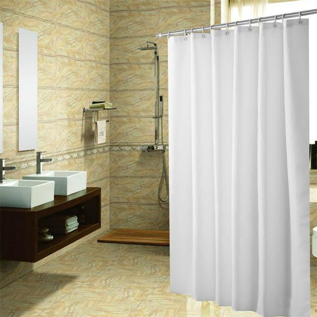 Pure White Polyester Shower Curtain Eco friendly Waterproof Mold ...
