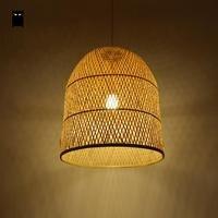 Бамбук плетеная из ротанга колокол Тенты подвесной светильник японский Азиатский Подвеска Потолочный светильник plafon E27 E26 лампы кровать ка