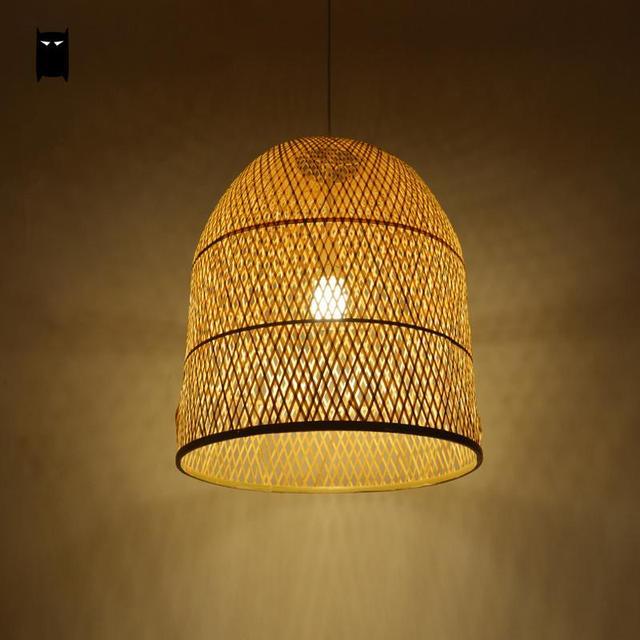 Bamboo Wicker Rattan Bell Shade Pendant Light Fixture