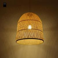 Bamboo Wicker Rattan Bell Shade Pendant Light Fixture Japanese Asian Suspension Ceiling Lamp Plafon E27 E26 Bulb Bed Study Room