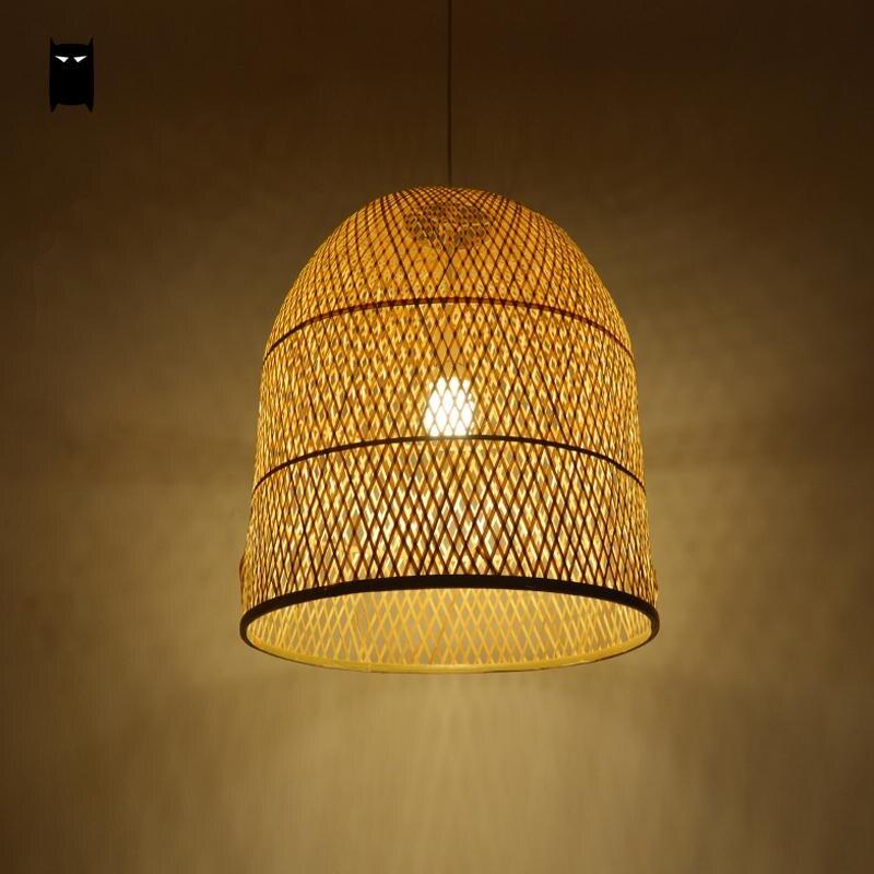 € 235.24  Bambou osier rotin cloche abat jour Suspension luminaire japonais  asiatique Suspension plafonnier Plafon E27 E26 ampoule lit salle ...