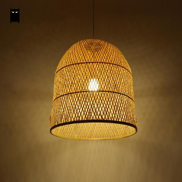 Bambou osier rotin cloche abat jour Suspension luminaire japonais ...